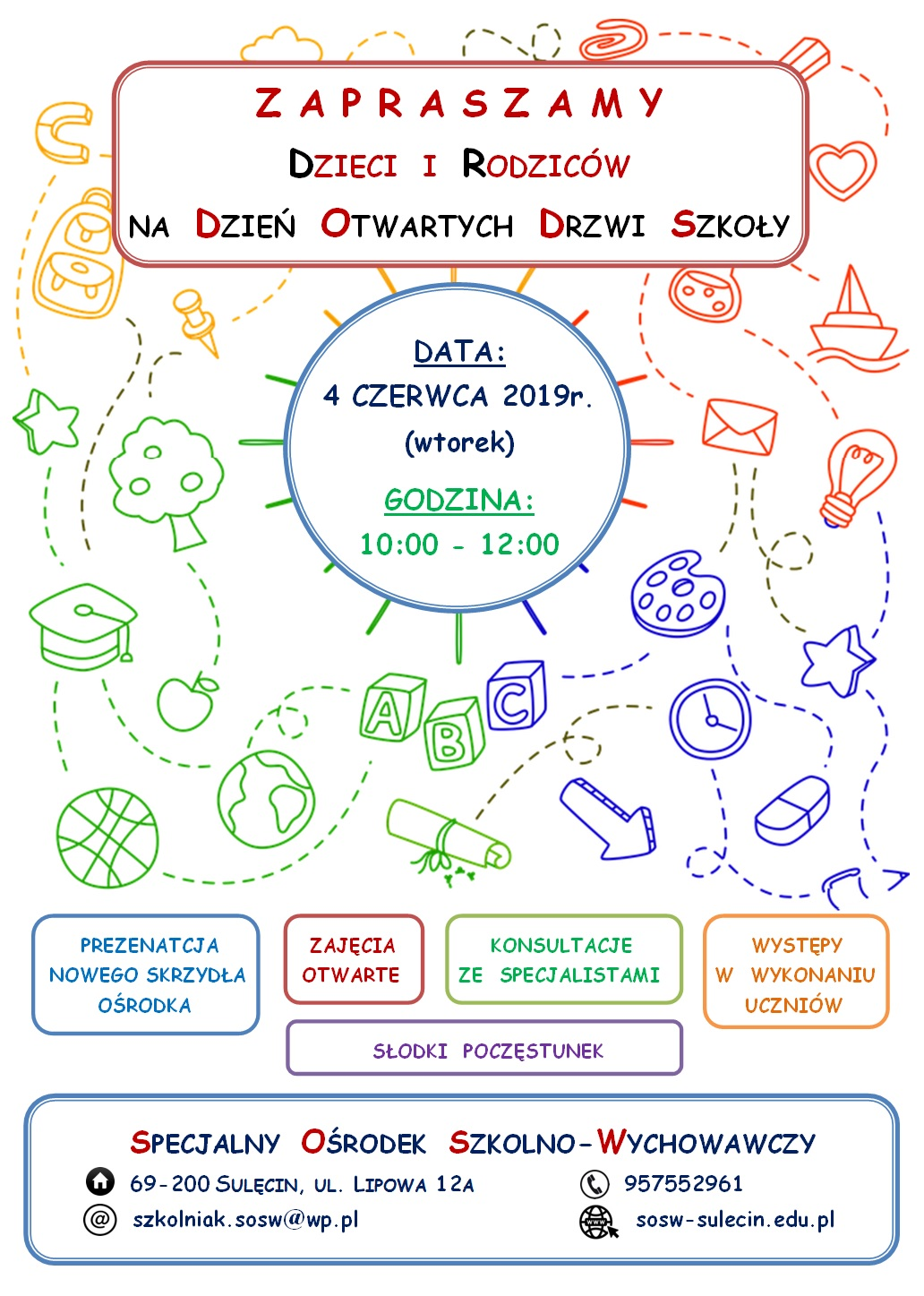 plakat. Dzień Otwartych Drzwi Szkoły w SOSW 2019